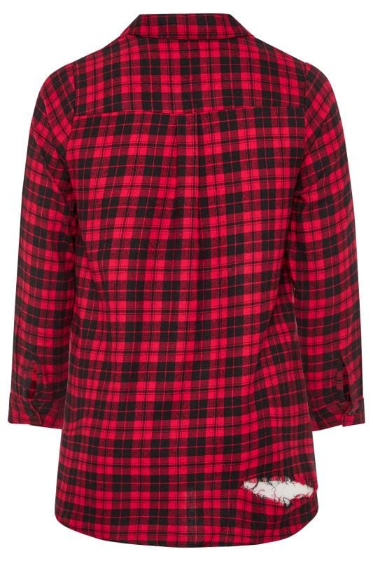 Red Distressed Check Shirt