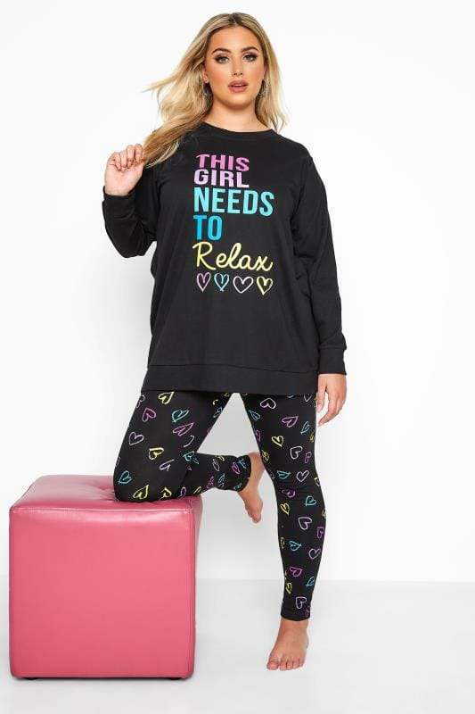 Plus Size Loungewear dla puszystych Black Heart Print Relax Slogan Lounge Set