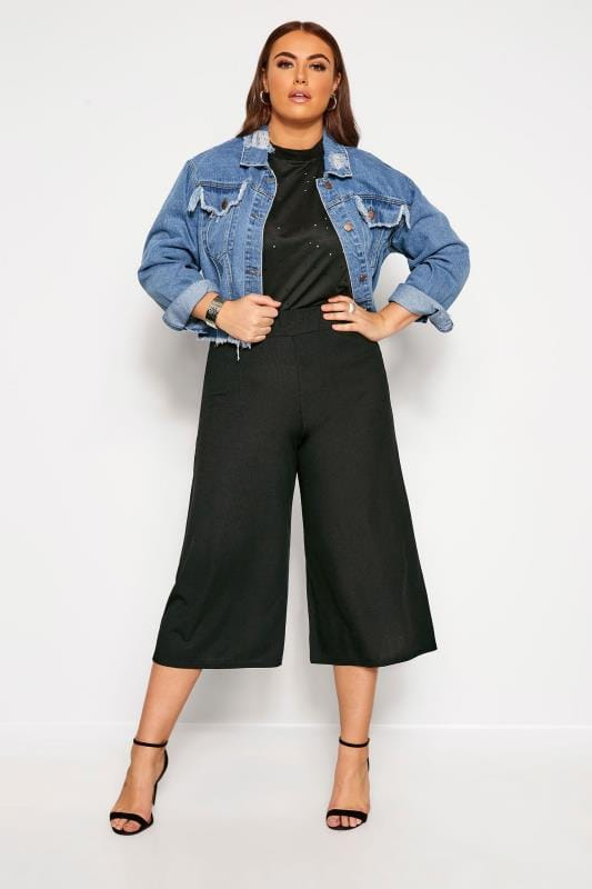 Plus Size Cropped Trousers LIMITED COLLECTION Black Ribbed Culottes