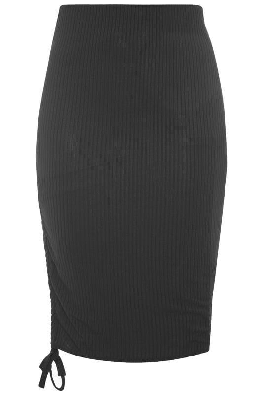 Spódnice midi dla puszystych Black Ribbed Ruched Midi Skirt