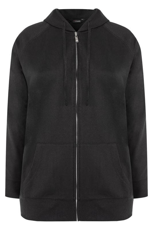 Black Ribbed Trim Zip Through Hoodie