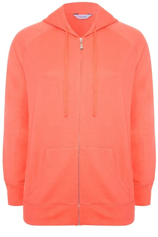 Coral Ribbed Trim Zip Through Hoodie