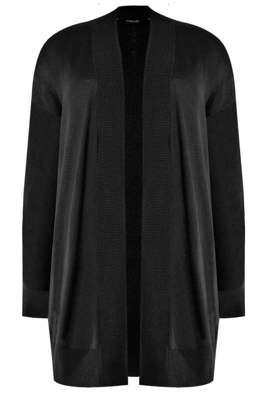 Plus Size Casual / Every Day Black Ribbed Trim Waterfall Cardigan