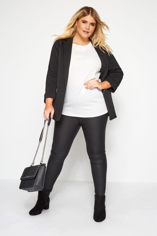 Plus Size Jackets Black Ribbed Zip Pocket Blazer Jacket