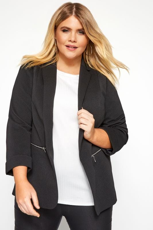 Plus Size Jackets Black Ribbed Zip Pocket Blazer Jacket