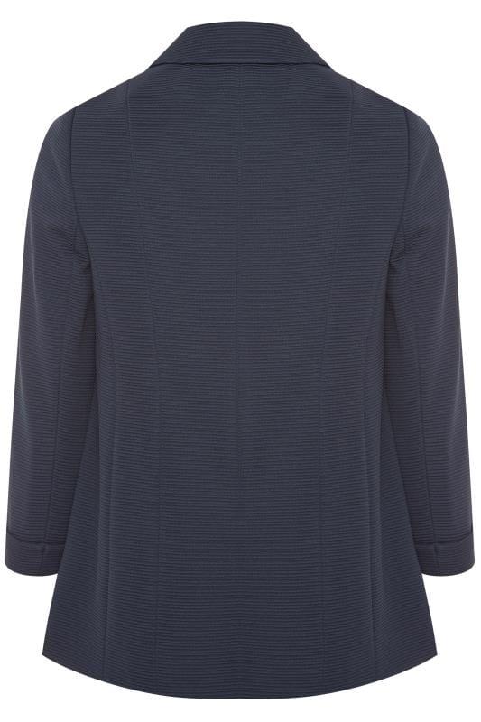 Navy Ribbed Zip Pocket Blazer Jacket