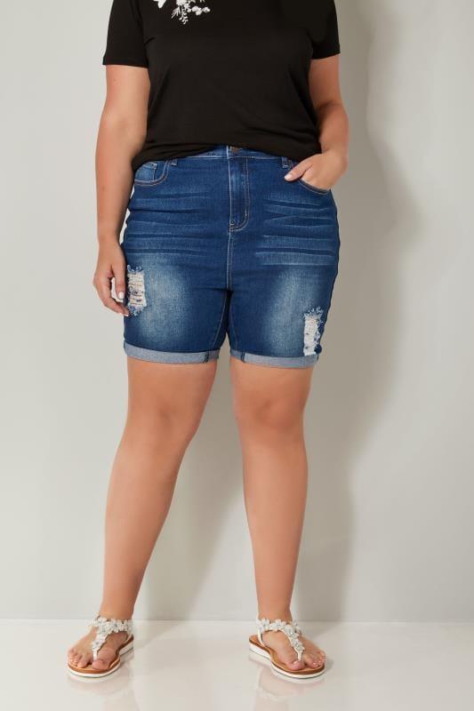 Indigo Blue Denim Ripped Shorts