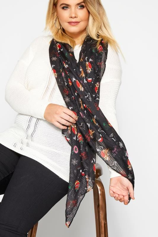 Plus Size Scarves Black Robin Christmas Scarf