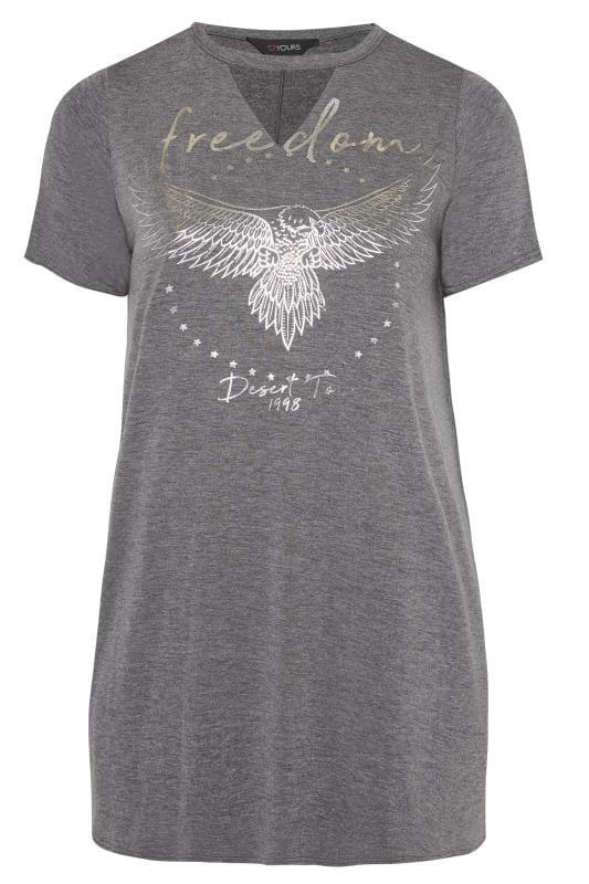 Koszulki z nadrukiem dla puszystych Grey & Silver Choker Rock Slogan T-Shirt