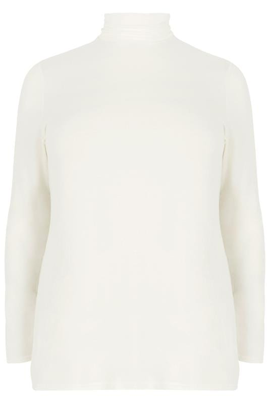 Plus Size Jersey Tops Cream Turtle Neck Top