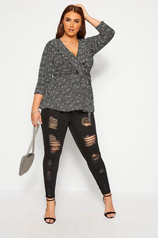 Plus Size Wrap Tops LIMITED COLLECTION Black Daisy Wrap Top