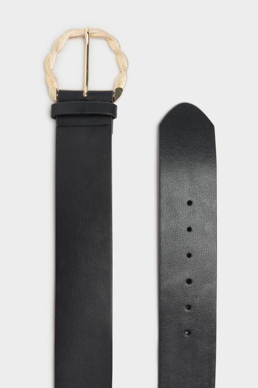 Black & Gold Rope Twist Wide Buckle Belt