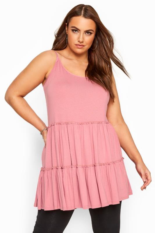 Plus Size Tunics Pink Strappy Tiered Peplum Smock Tunic