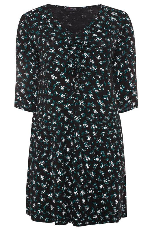 Black & Green Floral Ruched Dress