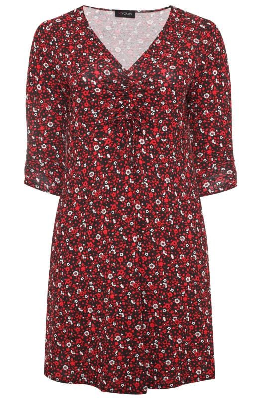 Red Floral Ruched Dress