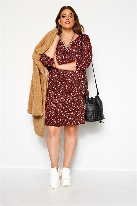 Plus Size Floral Dresses Red Floral Ruched Dress