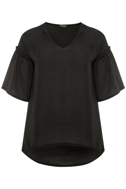 LIMITED COLLECTION Black Ruffle Sleeve Tunic