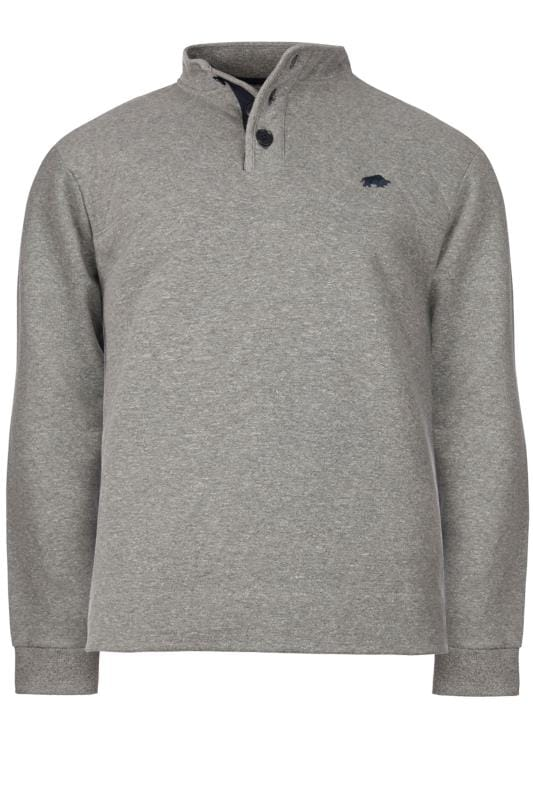 Plus Size Sweatshirts RAGING BULL Grey Signature Button Sweatshirt