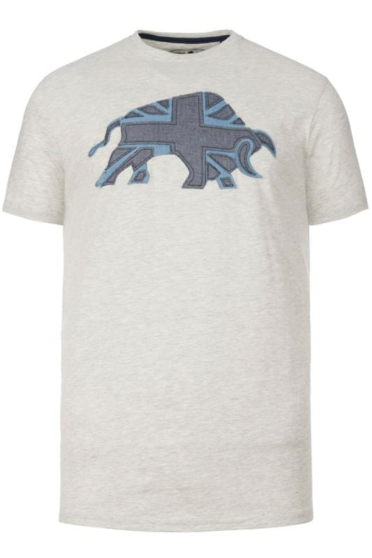 Plus Size T-Shirts RAGING BULL Grey Marl Union Jack T-Shirt