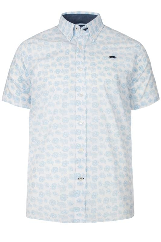 Plus Size Casual Shirts RAGING BULL White Floral Shirt