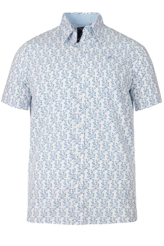 Casual Shirts RAGING BULL Blue Floral Leaf Print Shirt