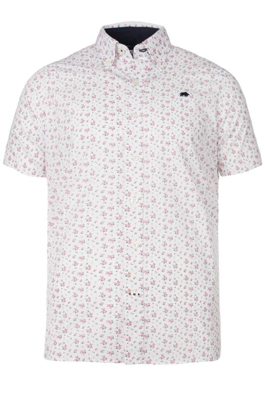 Plus Size Casual Shirts RAGING BULL White Rose Print Shirt