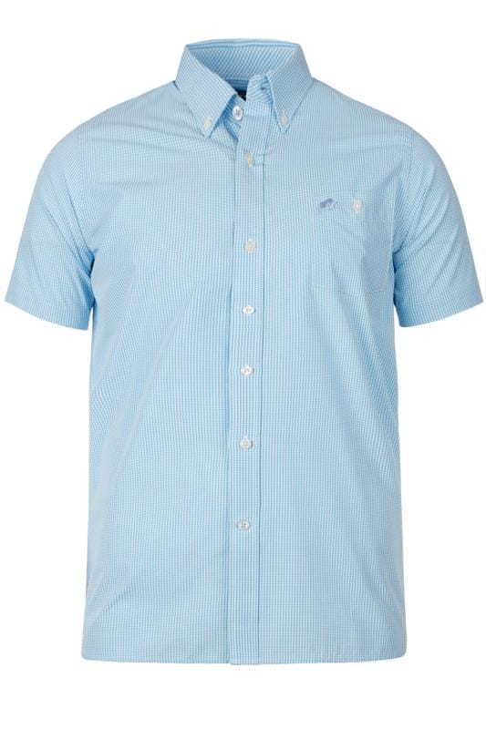 Plus Size Casual Shirts RAGING BULL Blue Gingham Shirt