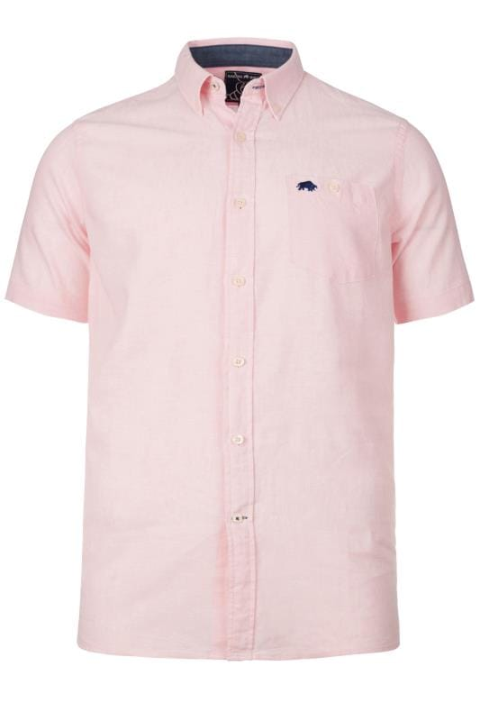 Plus Size Casual Shirts RAGING BULL Pink Linen Shirt