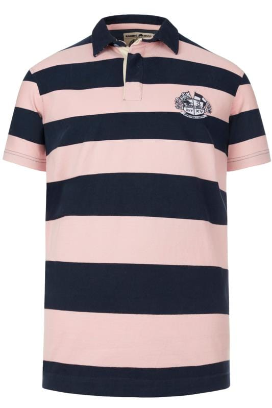 Plus Size Polo Shirts RAGING BULL Pink Stripe Rugby Polo Shirt