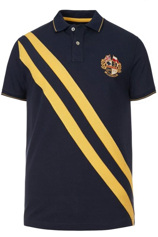 Plus Size Polo Shirts RAGING BULL Navy Diagonal Stripe Polo Shirt