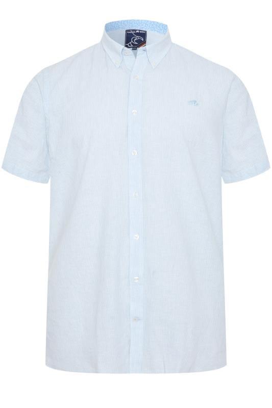 Plus-Größen Smart Shirts RAGING BULL Sky Blue Striped Shirt