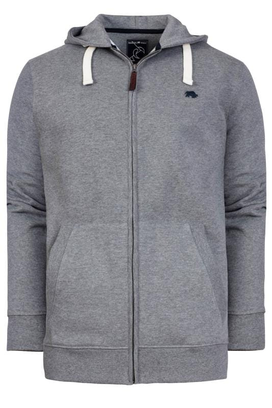 Men's Hoodies RAGING BULL Grey Marl Signature Zip Through Hoodie