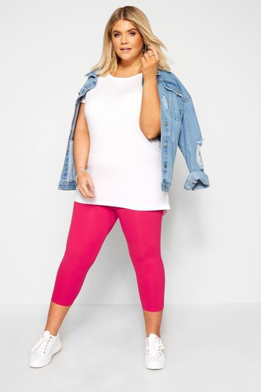 Plus Size Cropped & Short Leggings Raspberry Pink Cropped Leggings