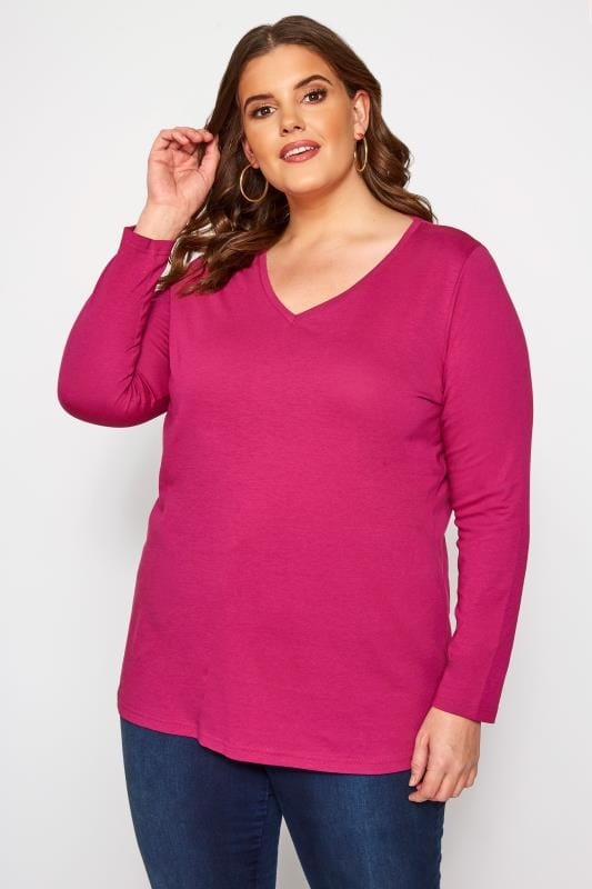 Plus Size Jersey Tops Raspberry V-Neck Long Sleeve Top