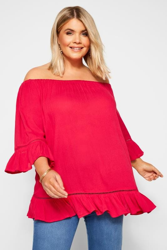 Plus-Größen Bardot & Cold Shoulder Tops Red Bardot Gypsy Top