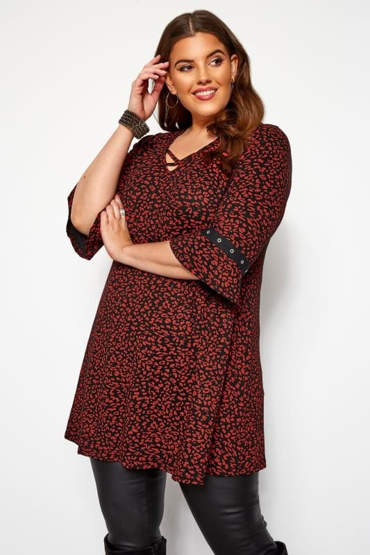 Plus Size Longline Tops Red & Black Animal Eyelet Longline Top
