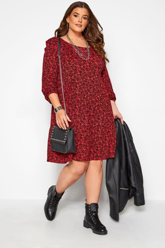 Plus Size Floral Dresses Red & Black Ditsy Floral Frill Dress