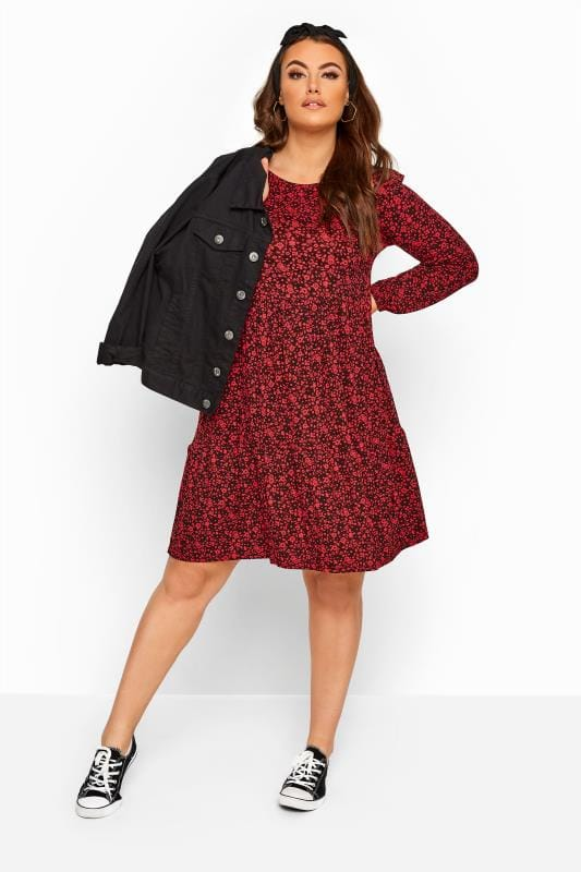 Red & Black Ditsy Floral Frill Dress