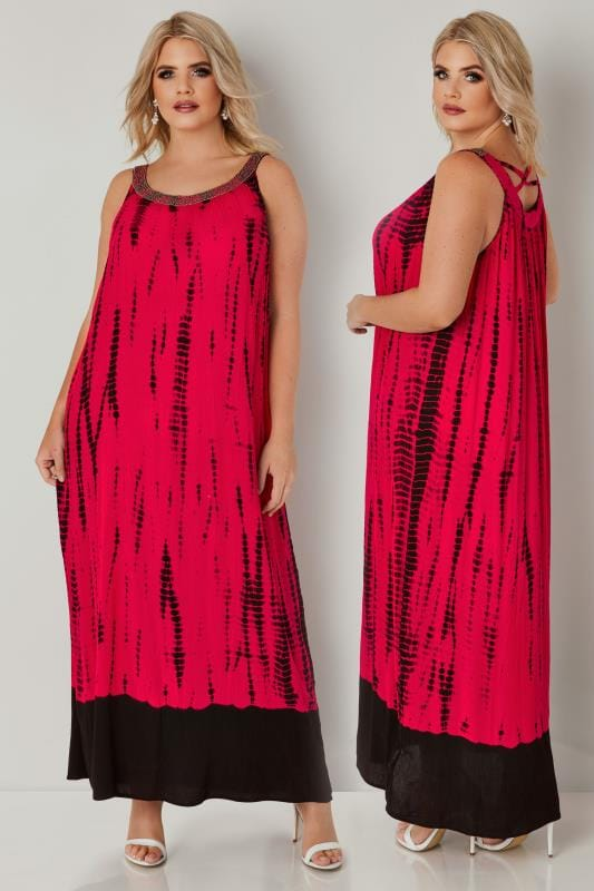 Hot Pink & Black Tie Dye Maxi Dress With Embellished ...