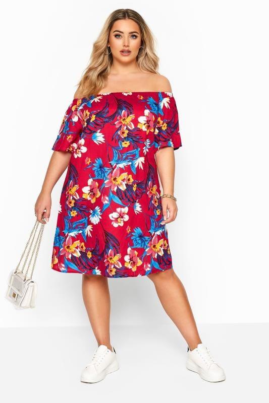 Red & Blue Floral Bardot Dress