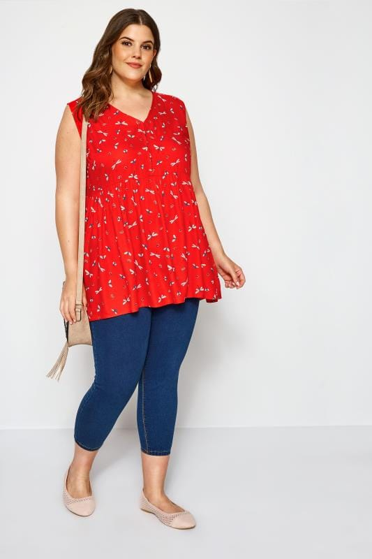 Red Dragonfly Smock Blouse