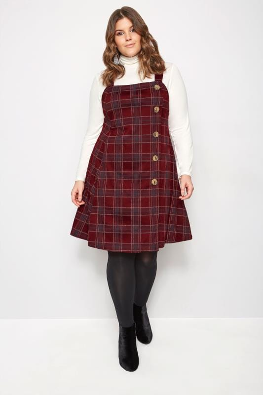 Red Check Button Pinafore Dress