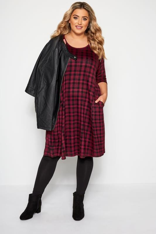Burgundy Check Drape Pocket Dress