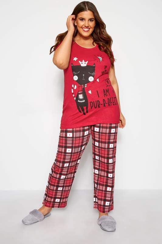 Plus Size Pyjamas Red Check 'Pur-r-rfect' Cat Pyjama Set
