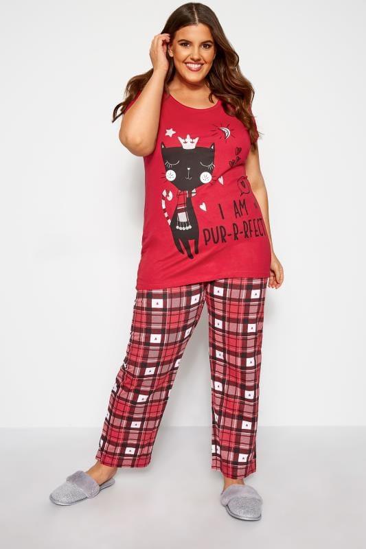 Plus Size Pyjamas Red Check 'Pur-r-rfect' Cat Pyjama Set