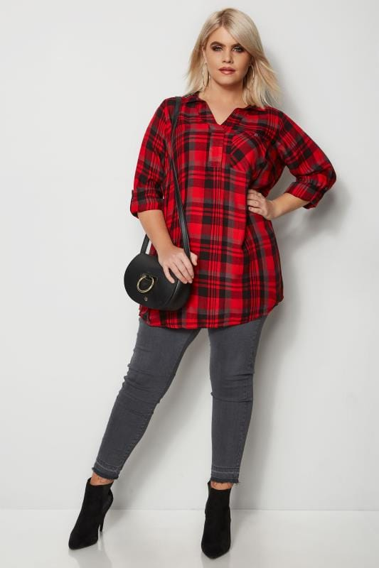 Red Overhead Check Shirt With Embellished Collar