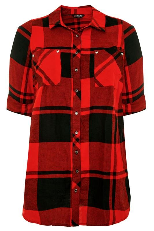 Red Check Studded Boyfriend Shirt