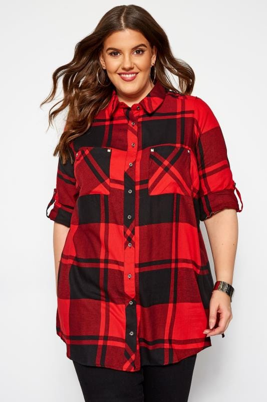 Plus Size Shirts Red Check Studded Boyfriend Shirt