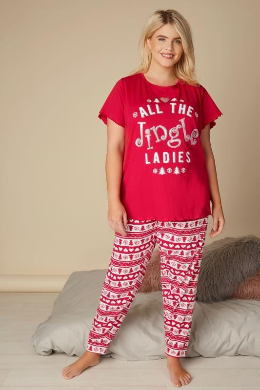 Plus Size Christmas Pajamas.Red Christmas All The Jingle Ladies Pyjama Set Plus Size 16 To 40