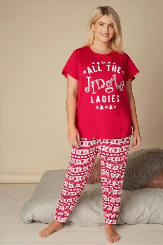 Plus Size Pyjamas Red Christmas 'All The Jingle Ladies' Pyjama Set